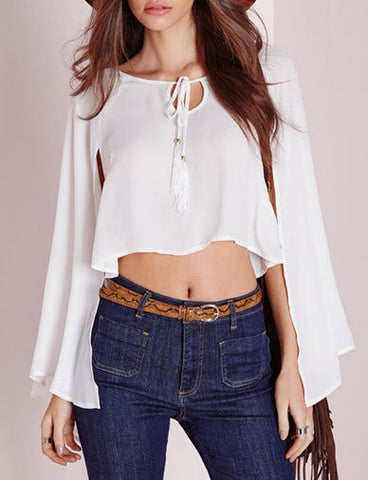 Exquisite String Neckline Crop Top in Cape   White