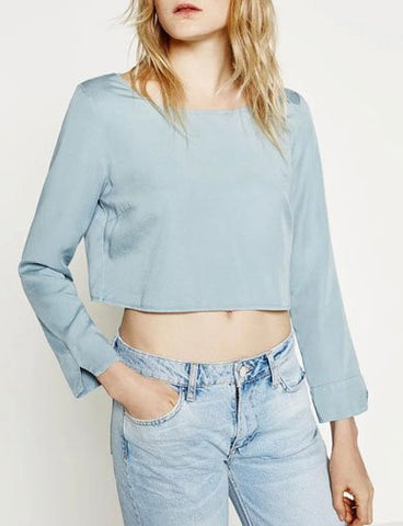 Dramatic Boat Neck Crop Top in Back Plunge   Jean Blue