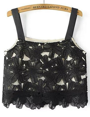 Elegant Crocheted Trim Lace Crop Tank Top   Black