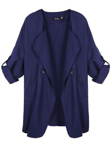 Oversize Fall Jacket Long Trench Coat in Loose Fit   Royal Blue