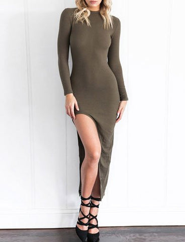 Stylish Long Sleeve Slim Fit Dress with Asymmetrical Split Design   Army Green