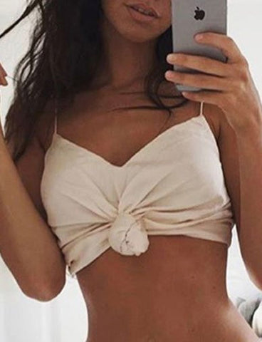 Cute Silk-like Crop Cami Top with V-neck Design   Beige
