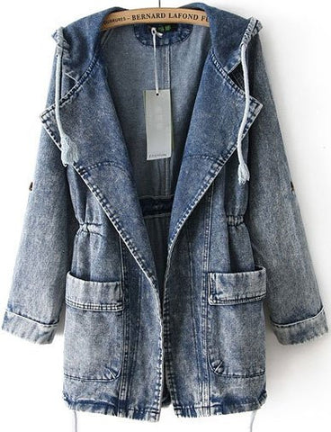 Boyfriend Cargo Pocket Denim Jacket with Hood As Pic
