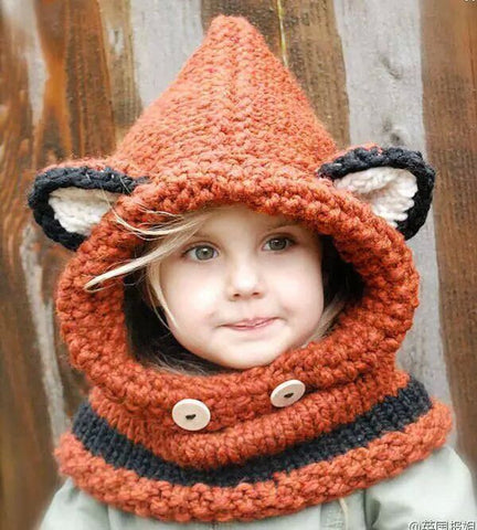 Thermal beanie fox knitted hat scarf one size fit all