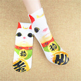 3D Printed Low Cut Ankle Socks Cute Animals and Foods Cotton Blend for Woman