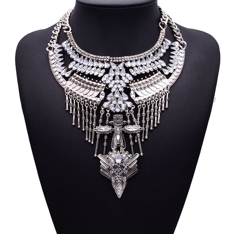Black chunky maxi statement bib chain collier collar necklace jewelry