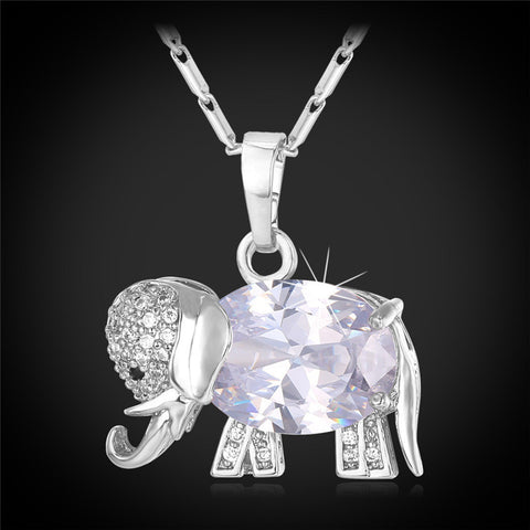 Elephant Lucky charm Gold Plated Zirconia Necklace Pendant Necklace