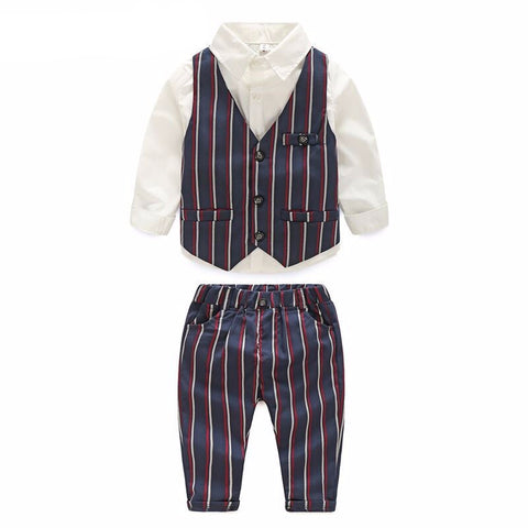 Baby boy clothing set 3pcs gift set Toddler boys clothes long sleeve shirt+vest+pants handsome gentleman