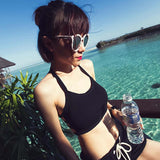 Women casual crop top bustier off shoulder fitness bralette Black White