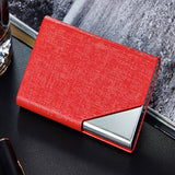 Designer Slim Wallet Leather and Metal Card Holder Waterproof Business Card ID Credit Card Unisex