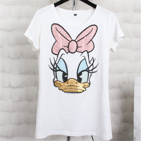 Casual Women T Shirt Disney Designer Funny top Kawaii Sequin Daisy Duck
