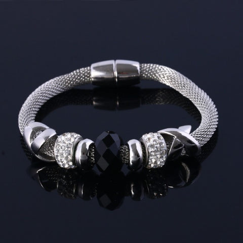 Crystal Bangle Weave Bracelet Rock Gemstone Stone Bead Statement bangles Jewelry for Women