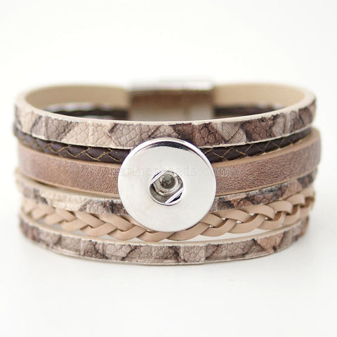 Unisex Personalised leather bracelet for Noosa Charm Beads Buttons - Fit DIY Snap Charm Bracelet For 18mm Click Button Pop Partnerbeads Interchangeable