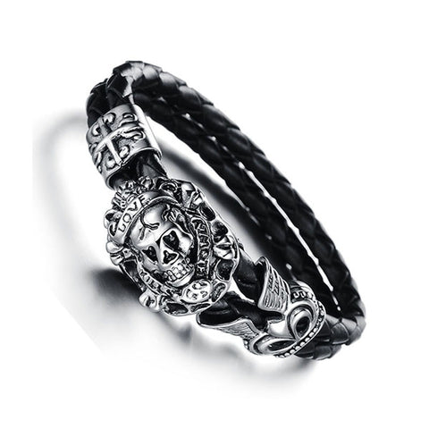 Black bracelet wristband stainless steel skull bangle for men