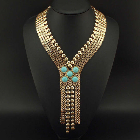Ancient Chunky chain statement necklace gold tone Egyptian jewellery