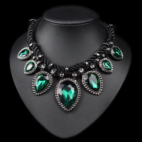 Chunky chocker maxi green crystal water drop necklace jewellery
