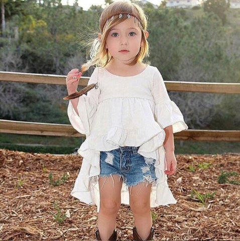 Toddler White Flare Ruffle Sleeve Tops / Navy Pants Baby Girl Outfit