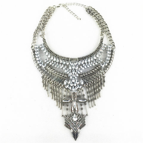 Choker chunky statement Fashion Crystal Chain necklace metal vintage costume Jewelry