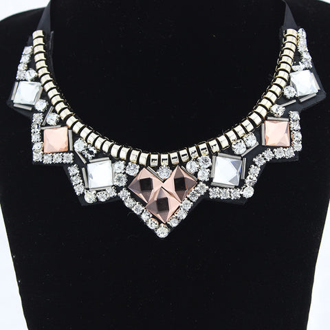 Chunky choker charm necklace statement stones and crystals ribbon rhinestone