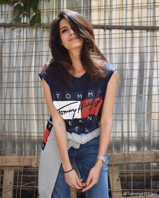 Woman cotton t-shirt navy blue crop top casual sleeveless Tommy