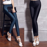Women spandex leggings high waist stretchy shiny slim fit ankle-length pants