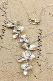 Silver Chain with Orchid Flower Pendant Charm Necklace - Vintage Fashion Jewelry for Women
