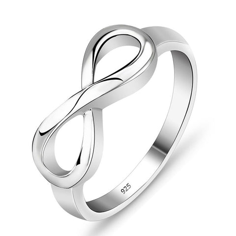 Sterling Silver Round Ring Promise Engagement Infinity Love Symbol Sign