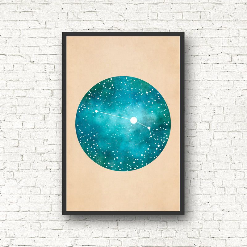 Teal Zodiac Constellation Print - Pick Your Sign