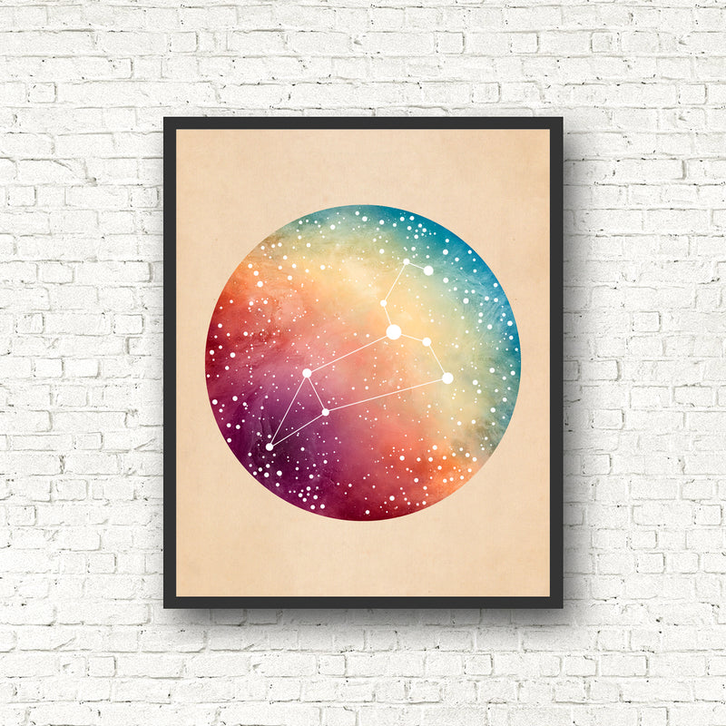 Rainbow Zodiac Constellation Print - Pick Your Sign