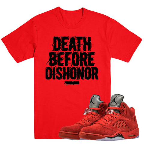 DISHONOR- Jordan Red Suede 5 - DapperSam Clothing sneaker match tee