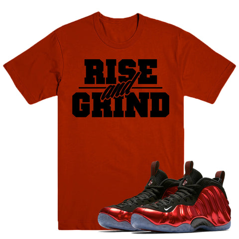 RISE GRIND- Nike Foamposite Metallic Red - DapperSam Clothing sneaker match tee