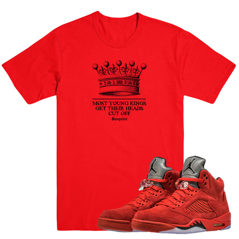 YOUNG KINGS- Jordan Red Suede 5 - DapperSam Clothing sneaker match tee