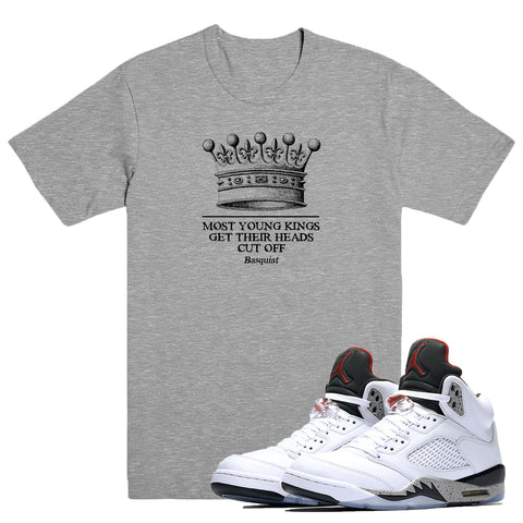 YOUNG KINGS- White Cement 5 - DapperSam Clothing sneaker match tee