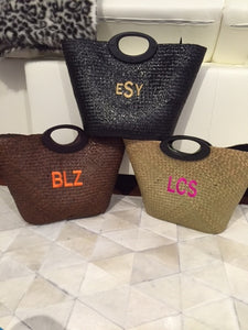 Personalized Monogram Straw Tote