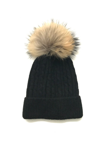 Aspen Cable Knit Pom Pom Hat