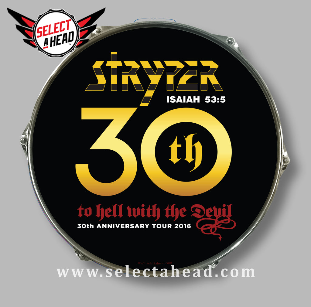 SIGNED - Stryper To Hell With The Devil 30th Anniversary - Select a Head Drum Display