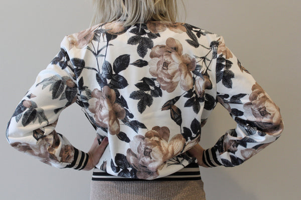 Faux Suede Floral Bomber with Contrast Rib