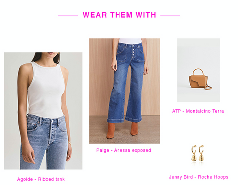 style your white sneakers this 2021 with jeans, an agolde tank, jenny bird earrings and atp handbag