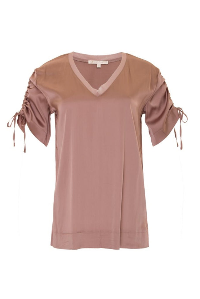 GOLDHAWK - RUCHED V NECK TEE ROSE