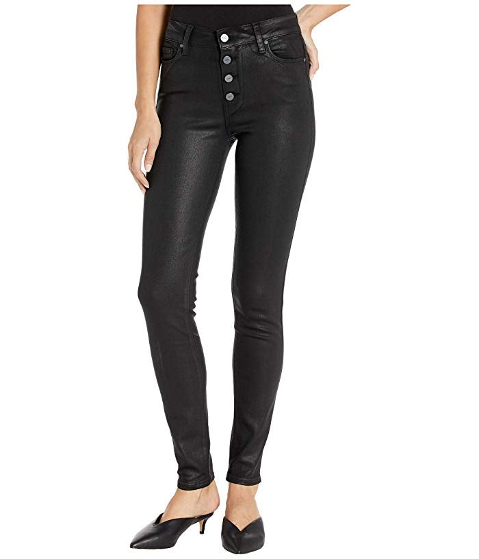 PAIGE - HOXTON ULTRA SKINNY EXPOSED BUTTON BLACK FOG LUXE COATING JEAN