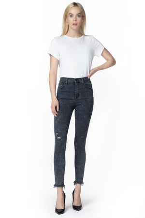 J BRAND - LEENAH SUPER HIGH RISE CROP SKINNY IN PHOTO READY AFTER HOURS DESTRUCT