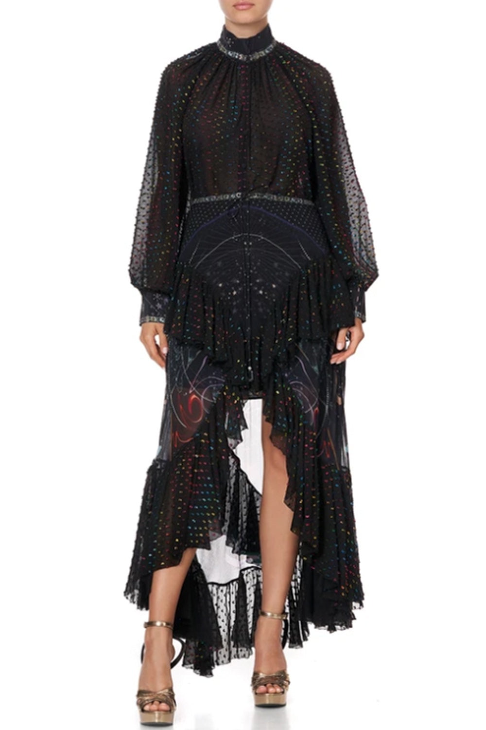 CAMILLA - MIDNIGHT MOON HOUSE MAXI SKIRT WITH DOUBLE FRILL WAS $969