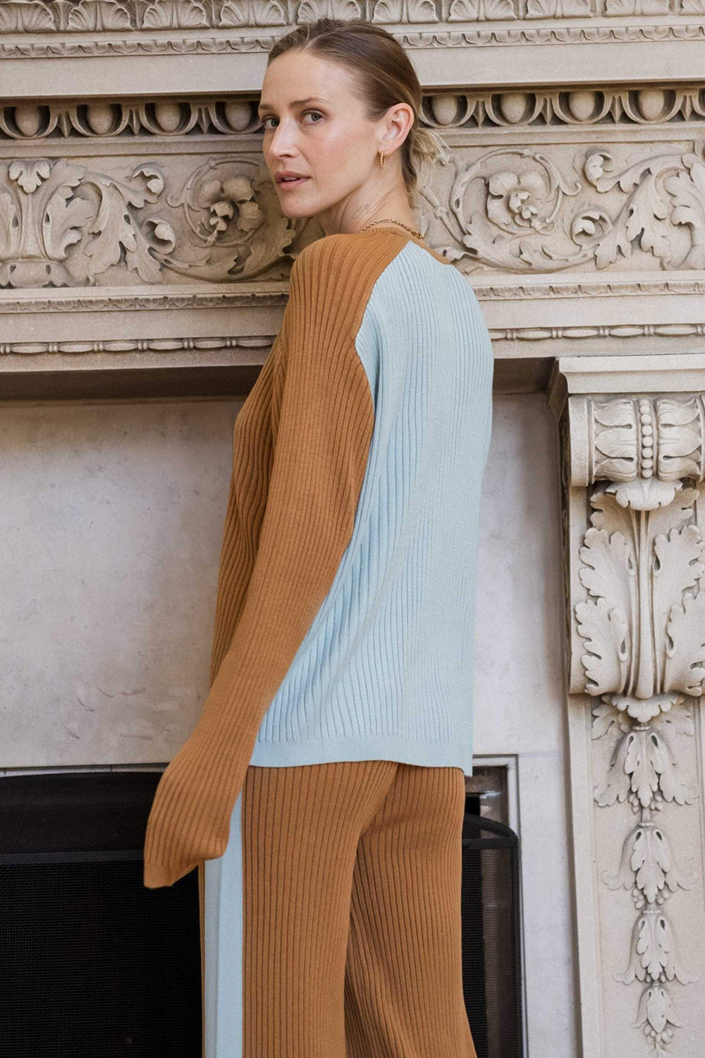 RAGDOLL - BLOCK KNIT TOP CAMEL/FADED BLUE WAS $289
