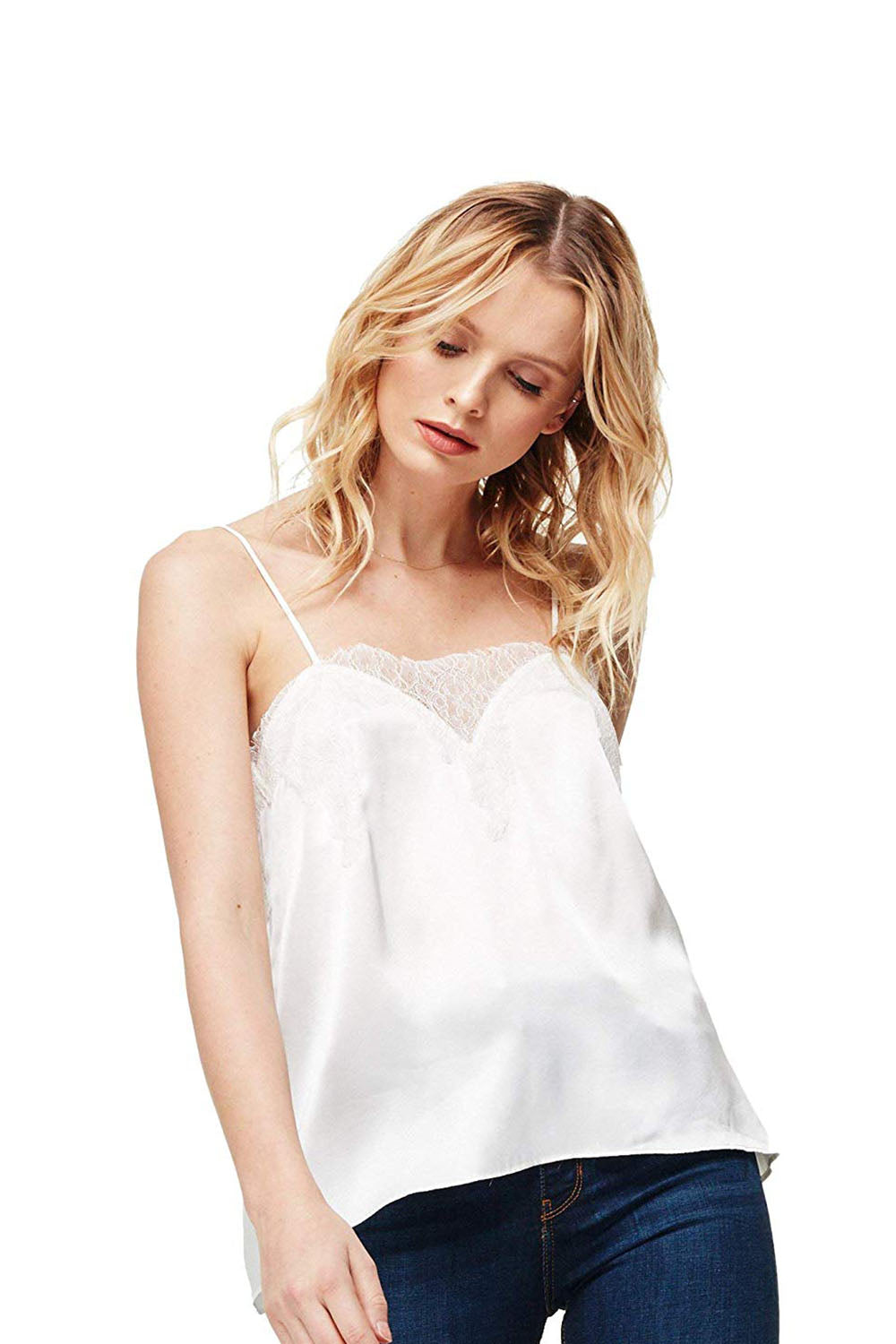 CAMI NYC - THE SWEETHEART CHARMEUSE WHITE