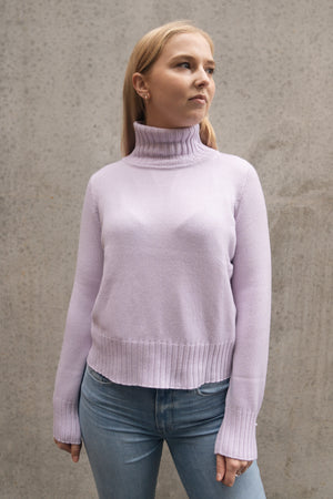 STANDARD ISSUE - CASHMERE CROPPED SWEATER LILAS