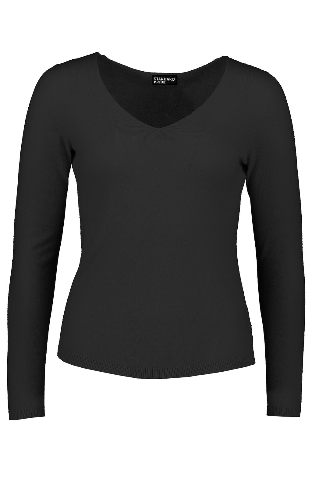 STANDARD ISSUE - SI2093 CASHMERE FITTED V NECK BLACK