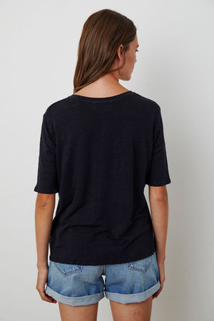 VELVET - STEFANI LINEN KNIT V NECK TEE NIGHT