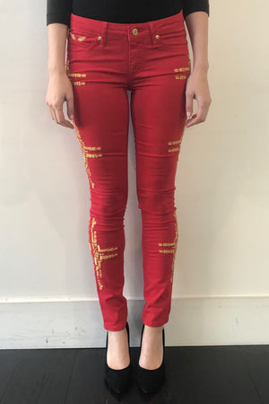 ROBINS JEANS - CHAPA SKINNY GOLD RED WAS $699
