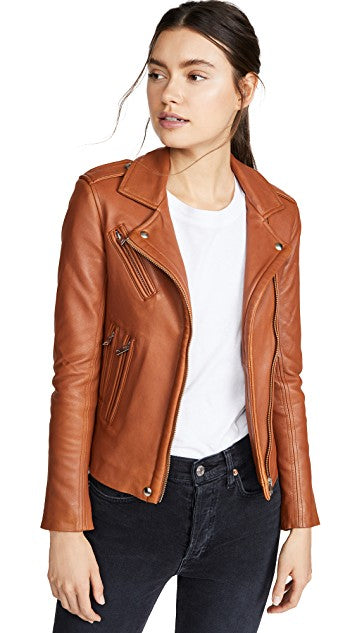 IRO - NEW HAN LEATHER JACKET CAMEL WAS $2229