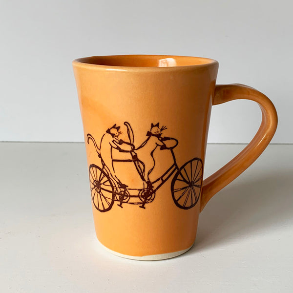 Coffee Mug - Illustrated Cats Riding a Bike Design